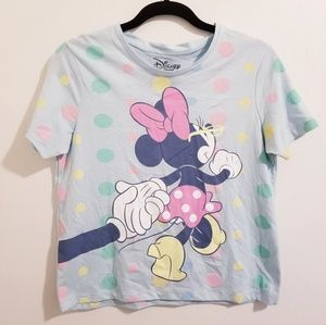 NWT Disney Minnie Mouse M top baby blue polka dot